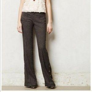 Elevenses Pants 2 Brown Tweed Button Leg Wide Leg